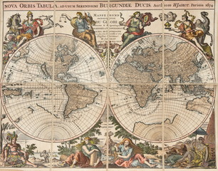 "antique map of the world: ""Nova orbis tabula"". H. Jaillot 1694"