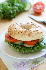Vegetarian Bagel Sandwich
