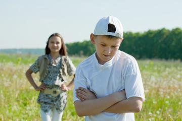 Sad teenager  friends  after  quarrel