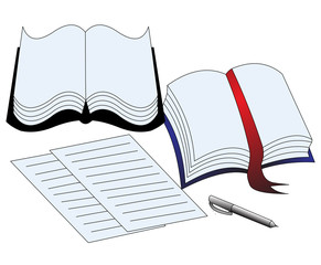 illustration of the book paper and handle