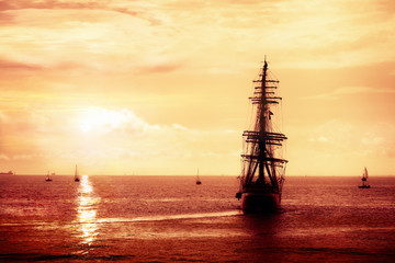 Pirate ship sailing