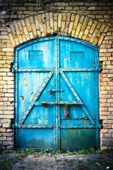 Iron gate in blue
