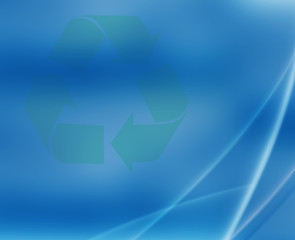 Recycle symbol on blue abstract