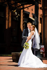 Bride and groom in the city