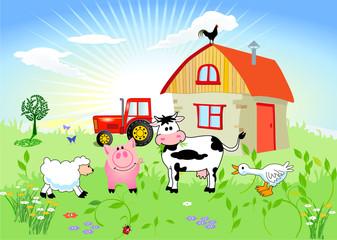 Poster Ranch Bauernhof-Tiere
