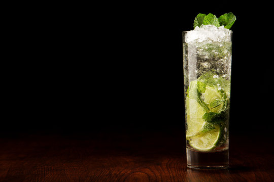 Mojito Cocktail on a wooden table