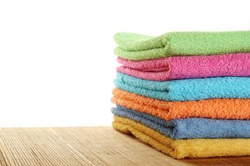 Lots of colorful bath towels