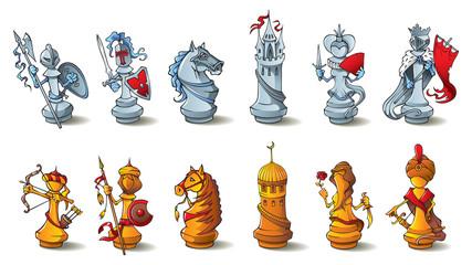 Chess full set, Crusaders vs. Saracens, raster illustration