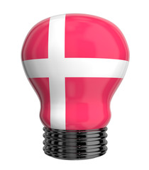 3d lamp with Denmark flag isolated
