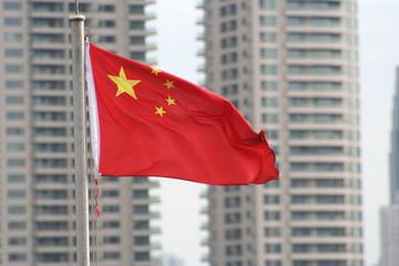 drapeau chinois, immeuble