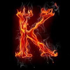 Staande foto Vlam Fire font. Letter K.