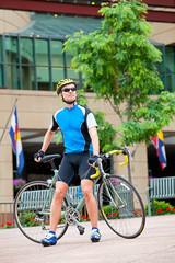 Mature bike rider in downtown