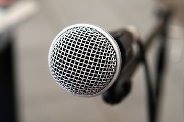 Microphone on stage in closeup