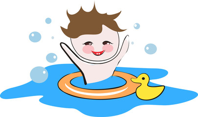 Happy child playing in a water