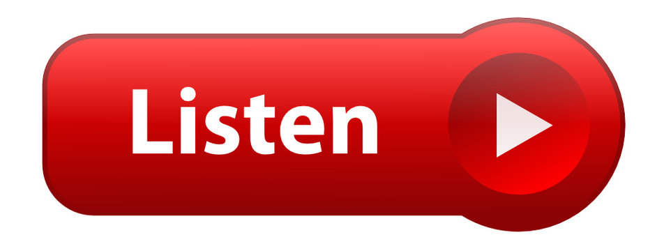 """""""LISTEN"""" Web Button (play music live audio media player red)"""