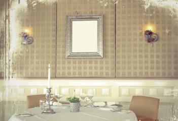 retro stylish photo of restaurant with frame