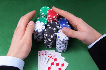 lucky man win jackpot in casino - indoors shoot