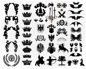 Heraldic elements - silhouettes