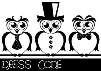 card with elegant owls