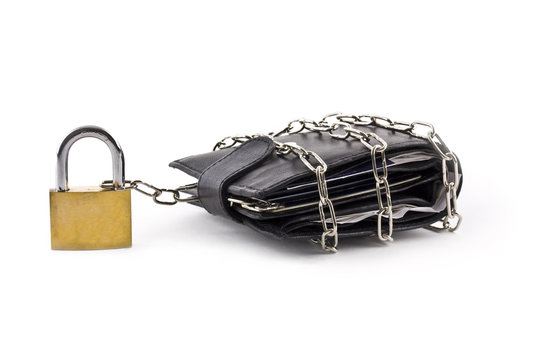 Wallet secured with chains and padlock