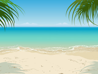 Tranquil seascape scene. Nobody. Empty beach. Vector