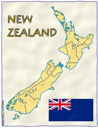 New Zealand political division national emblem flag map Stock image