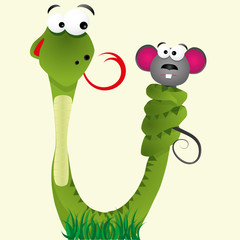 Hungry snake keeps mouse with tail, vector illustration