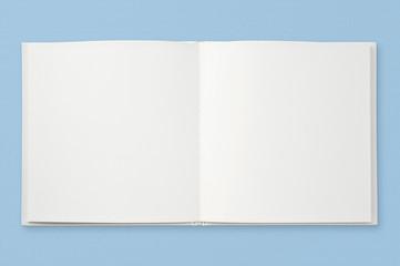 水色の背景に白紙の本