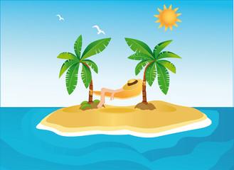 Sunny island with palms and hammock