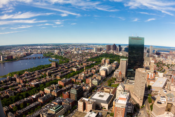 Aerial View of Boston in Massachusetts in the Summer
