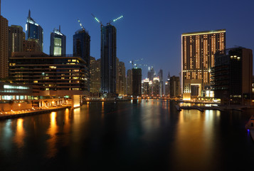 Dubai Marina at night, United Arab Emirates