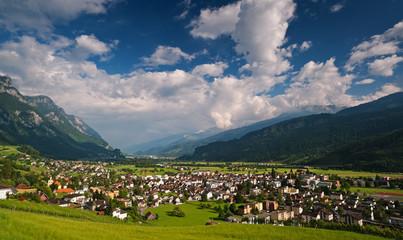 Small Swiss town in Alps. Walenstadt, St. Gallen, Switzerland.