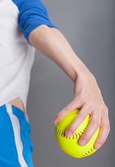 Woman with softball