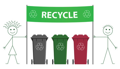 Stick man and woman holding green recycling banner