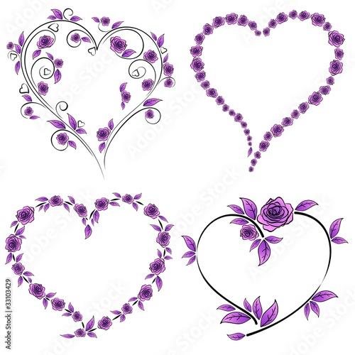 """""""Cuore E Rose Tatuaggio-Heart And Roses Tattoo-Vector"""