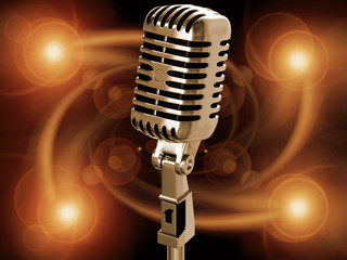 Microphone on musical background