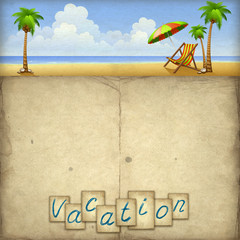 Vacation background with chaise lounge