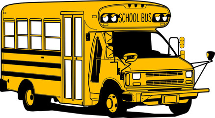 Old School Bus, hand draw illustration, vector
