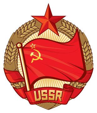 USSR flag (soviet union, wreath of wheat)