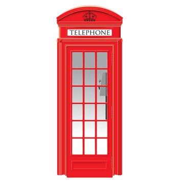Red telephone box - London - vector