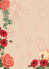 red hearts and roses background