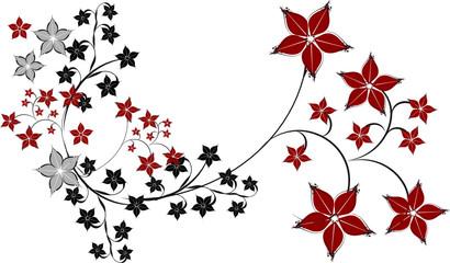 Floral Rahmen Blüten schwarz rot