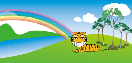 Door stickers Rainbow Tiger resting in a sunny day, background