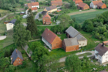 Photo aérienne village de Pologne