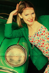 beauty young woman with car