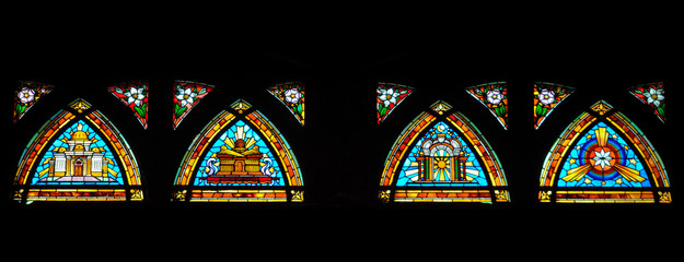 Colorful and bright panoramic Stained Glass window in a church