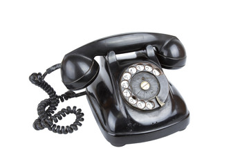 Retro phone, A black vintage phone isolate over white screen.