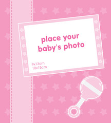 Template frame design for baby girl photo