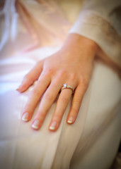 Bride's hand with the engagement ring