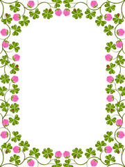 Floral frame with a clover